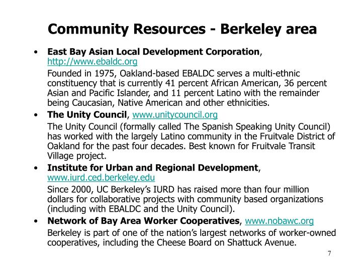 Community Resources - Berkeley area