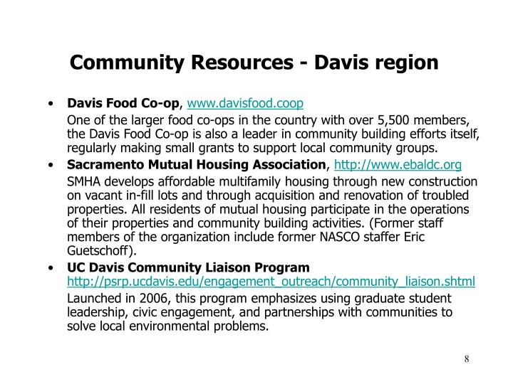 Community Resources - Davis region
