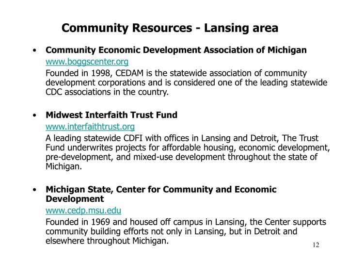 Community Resources - Lansing area