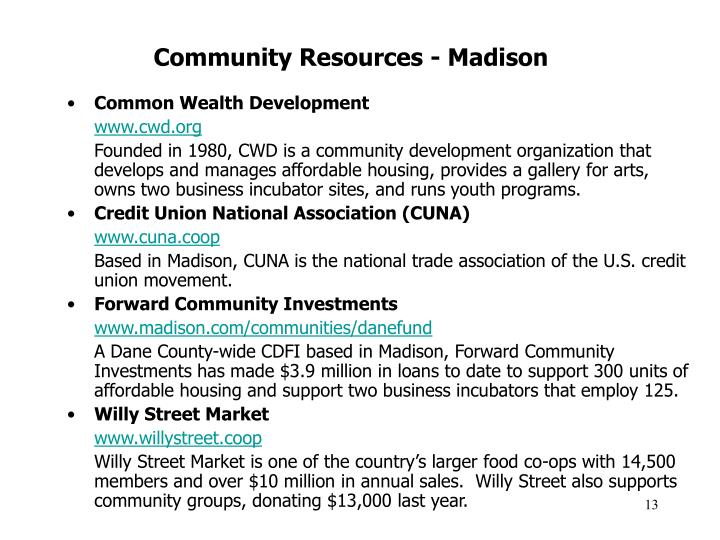 Community Resources - Madison