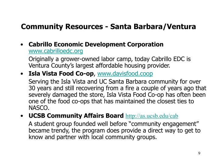 Community Resources - Santa Barbara/Ventura