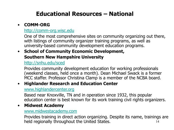 Educational Resources – National