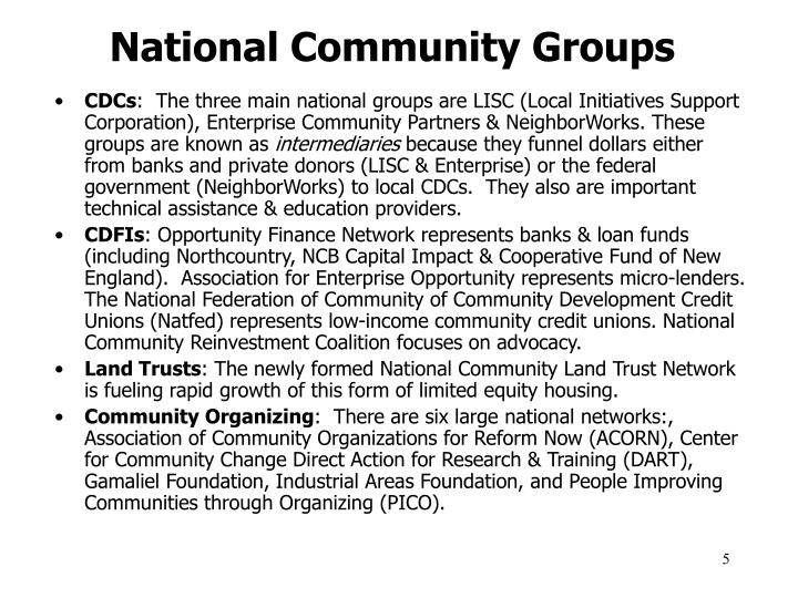 National Community Groups