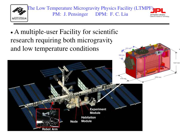 The Low Temperature Microgravity Physics Facility (LTMPF)