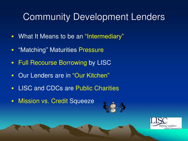Community development lenders