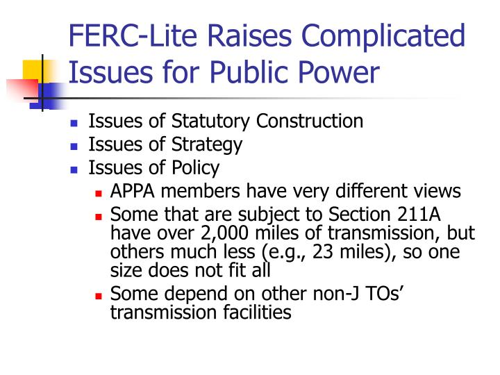 FERC-Lite Raises Complicated Issues for Public Power