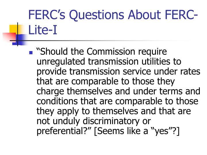 FERC's Questions About FERC-Lite-I