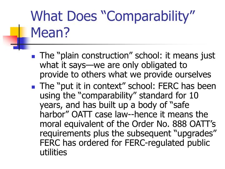 "What Does ""Comparability"" Mean?"
