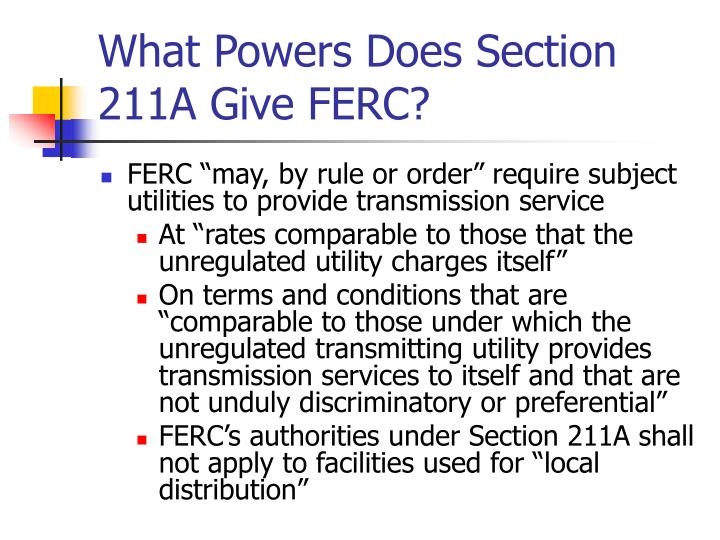 What powers does section 211a give ferc