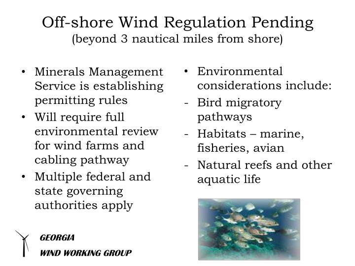 Off-shore Wind Regulation Pending
