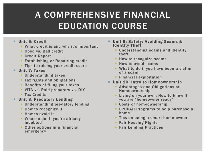 A comprehensive financial education course