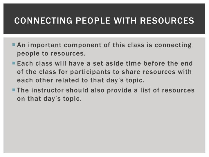 Connecting people with resources