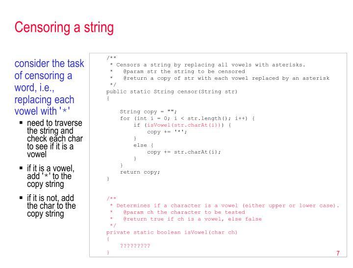 Censoring a string