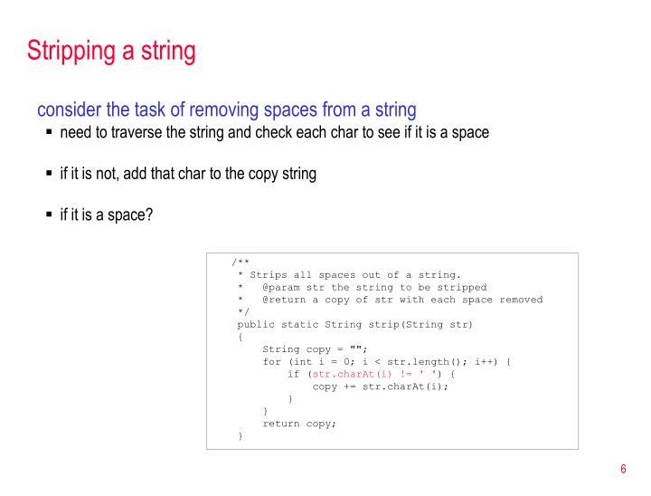 Stripping a string