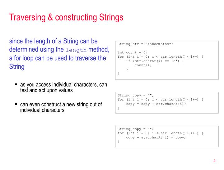 Traversing & constructing Strings