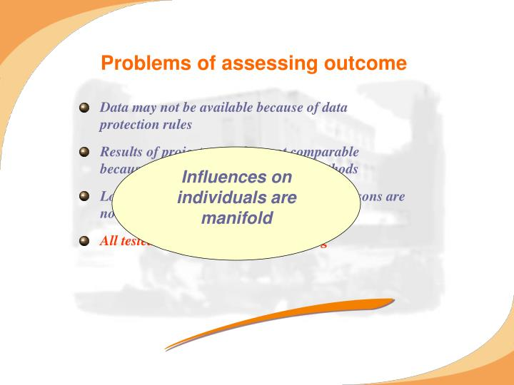 Problems of assessing outcome