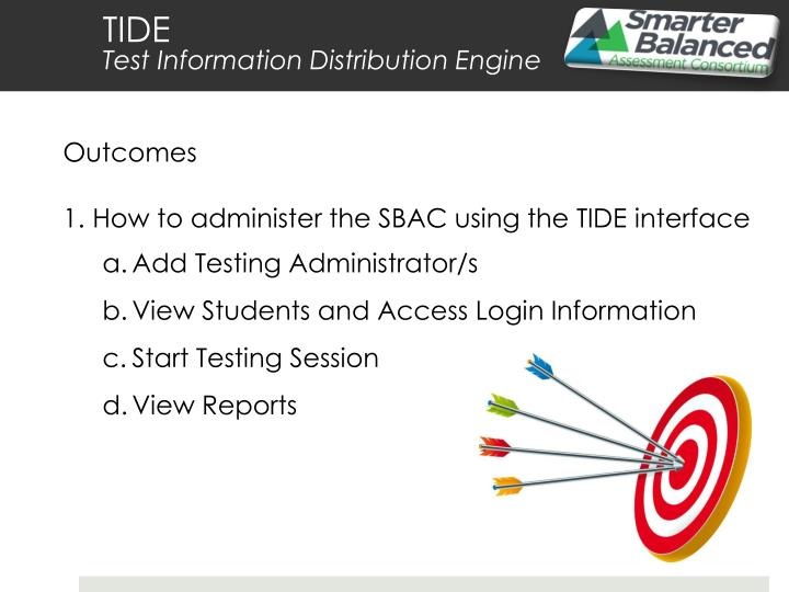 Tide test information distribution engine2