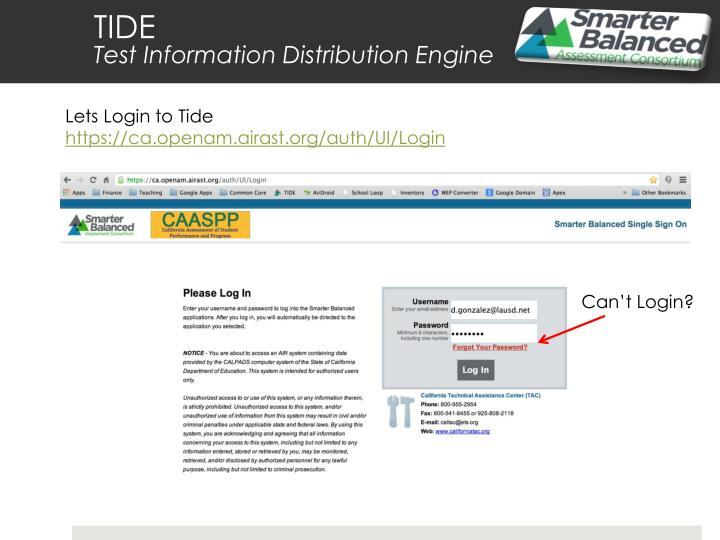 Lets Login to Tide