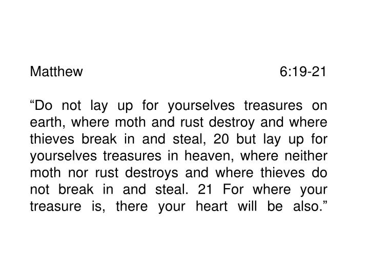 Matthew 6:19-21