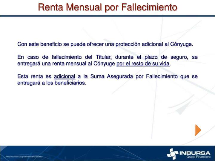 Renta Mensual por Fallecimiento