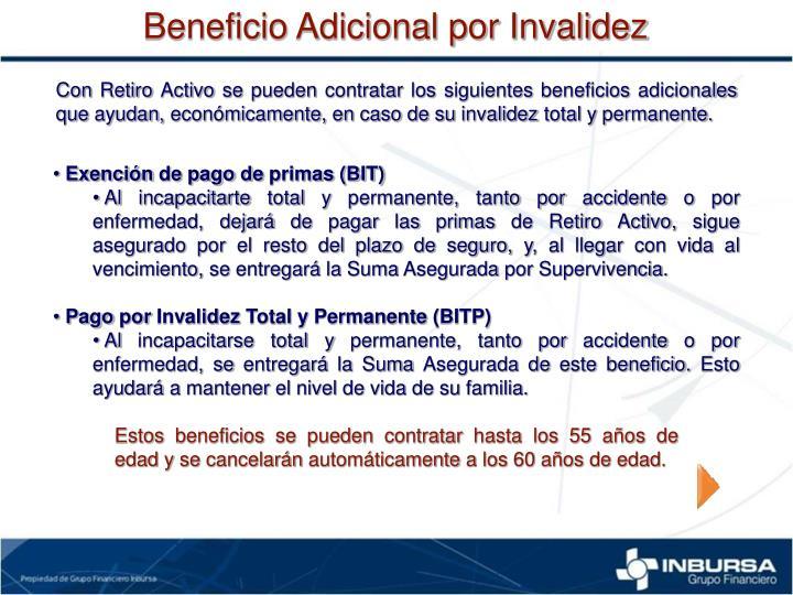 Beneficio Adicional por Invalidez