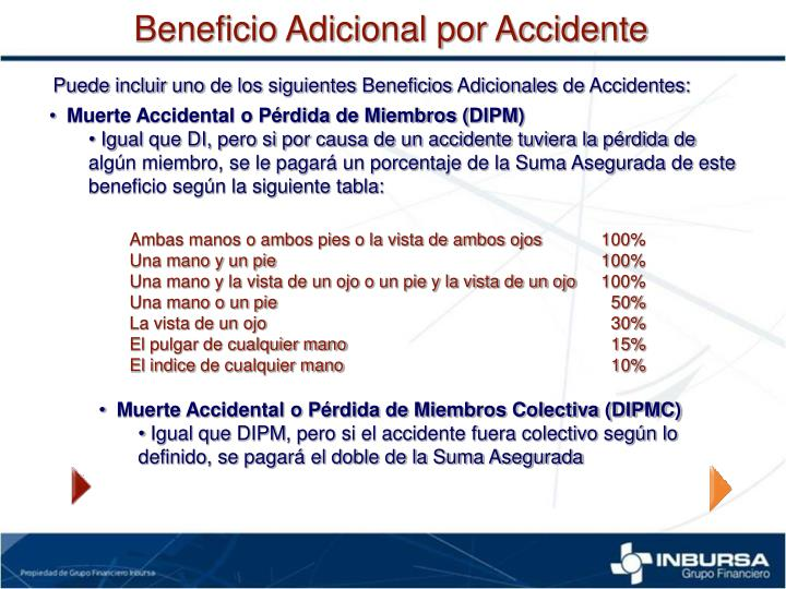 Beneficio Adicional por Accidente