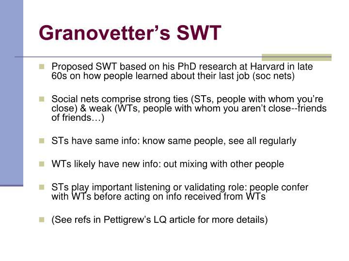Granovetter's SWT