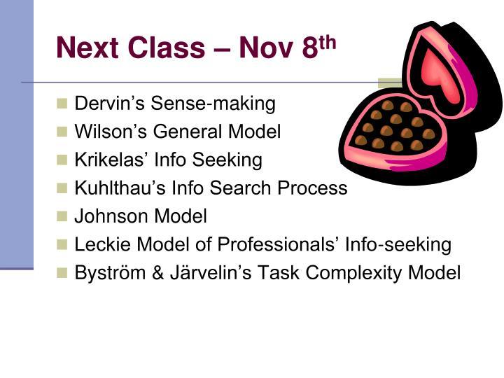 Next Class – Nov 8