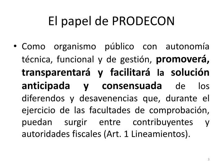 El papel de PRODECON