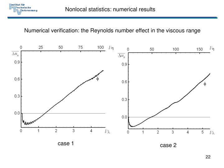 Nonlocal statistics: numerical results