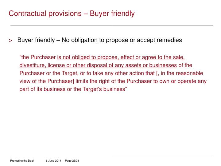 Contractual provisions – Buyer friendly
