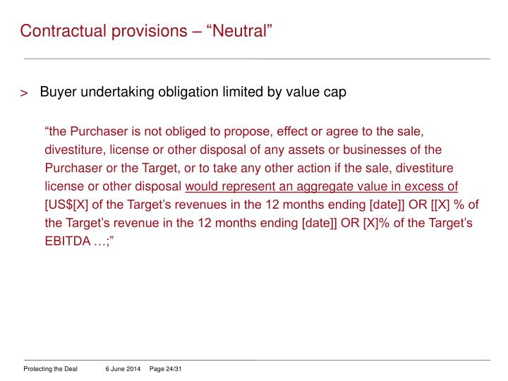 "Contractual provisions – ""Neutral"""