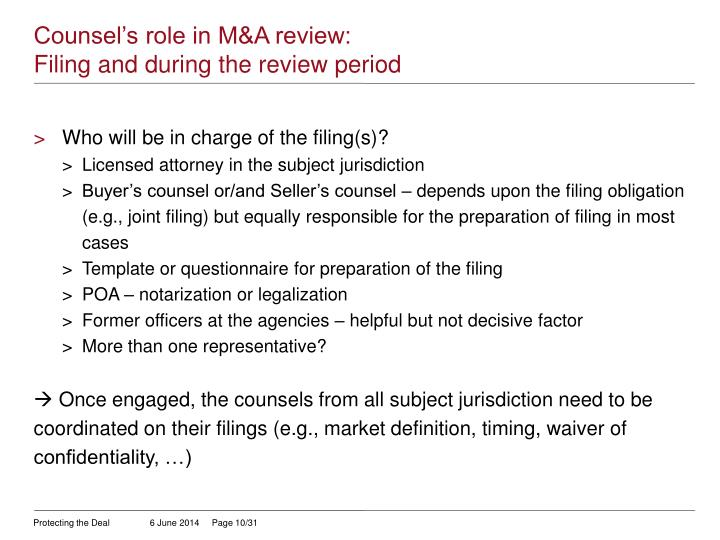 Counsel's role in M&A review: