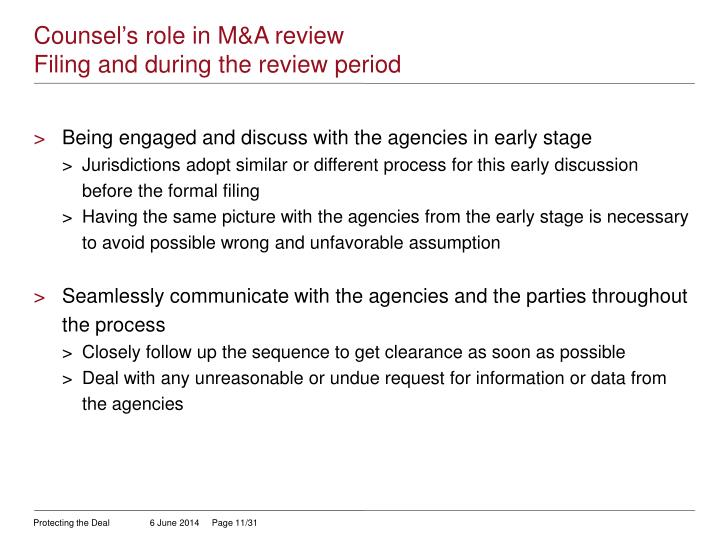 Counsel's role in M&A review