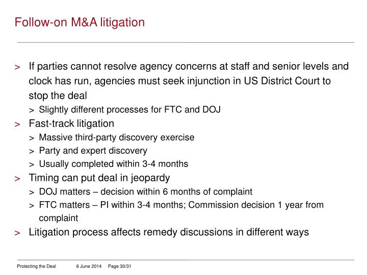 Follow-on M&A litigation