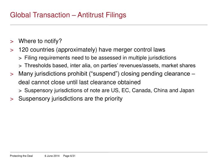 Global Transaction – Antitrust Filings