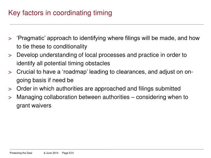 Key factors in coordinating timing