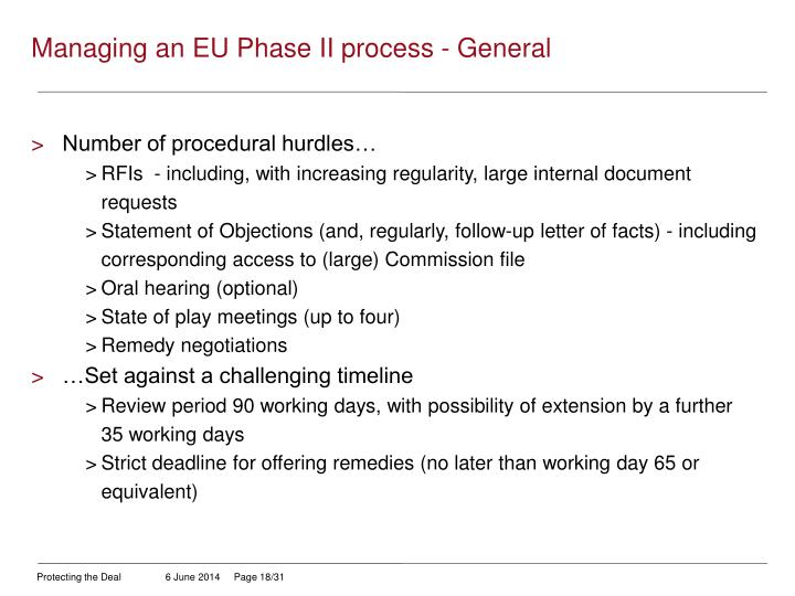 Managing an EU Phase II process - General
