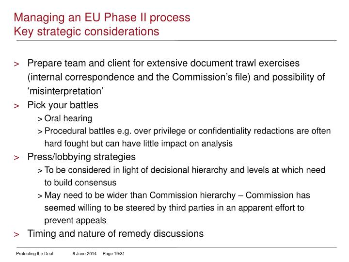 Managing an EU Phase II process