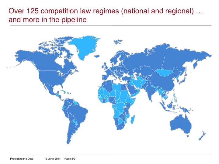 Over 125 competition law regimes national and regional and more in the pipeline