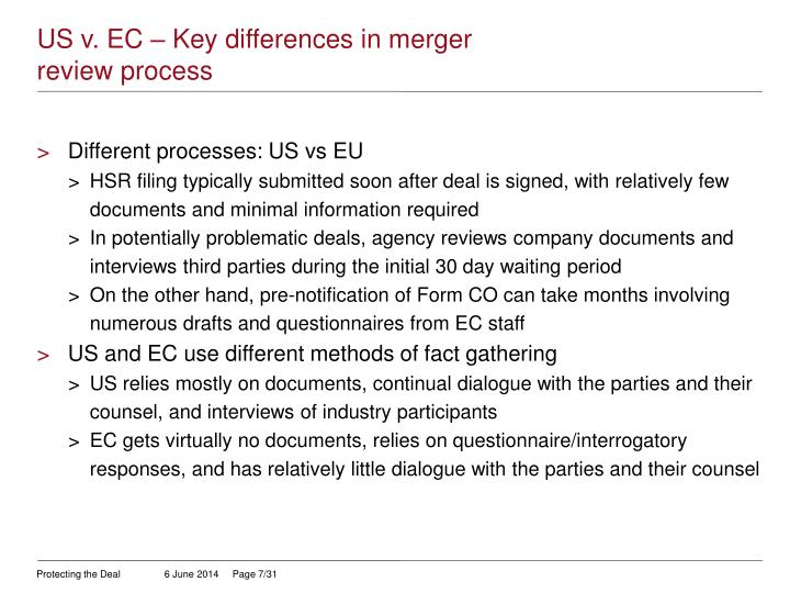 US v. EC – Key differences in merger