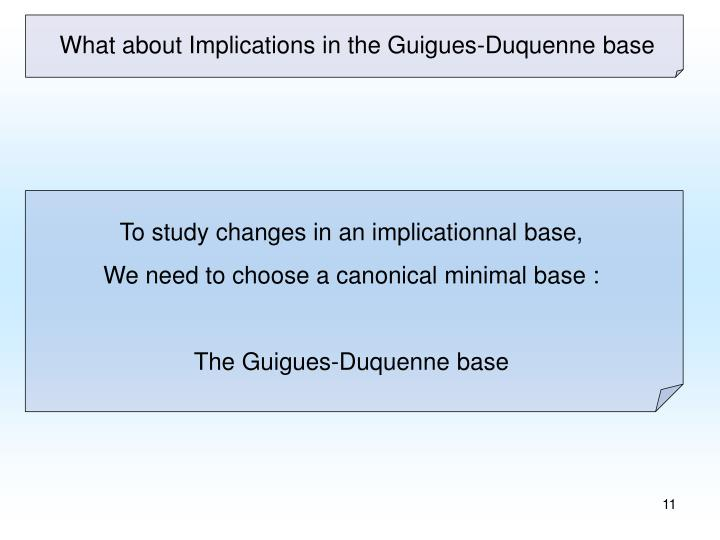 What about Implications in the Guigues-Duquenne base