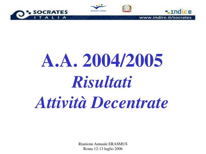 A.A. 2004/2005