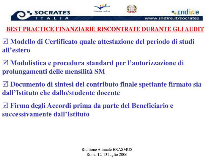 BEST PRACTICE FINANZIARIE RISCONTRATE DURANTE GLI AUDIT