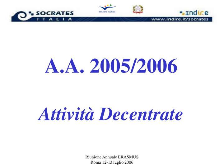 A.A. 2005/2006