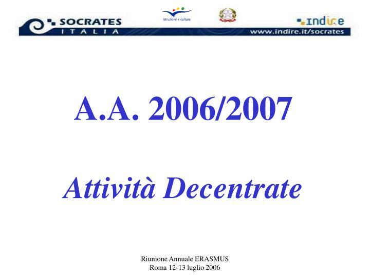 A.A. 2006/2007