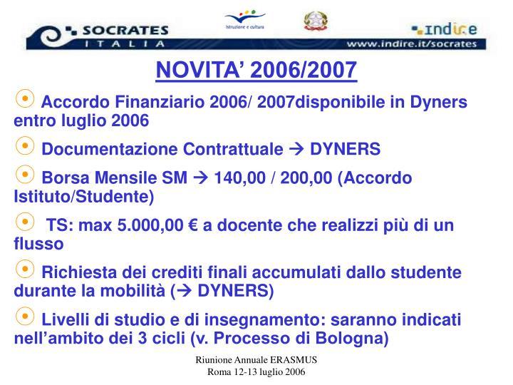 NOVITA' 2006/2007