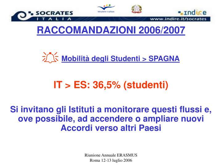 RACCOMANDAZIONI 2006/2007