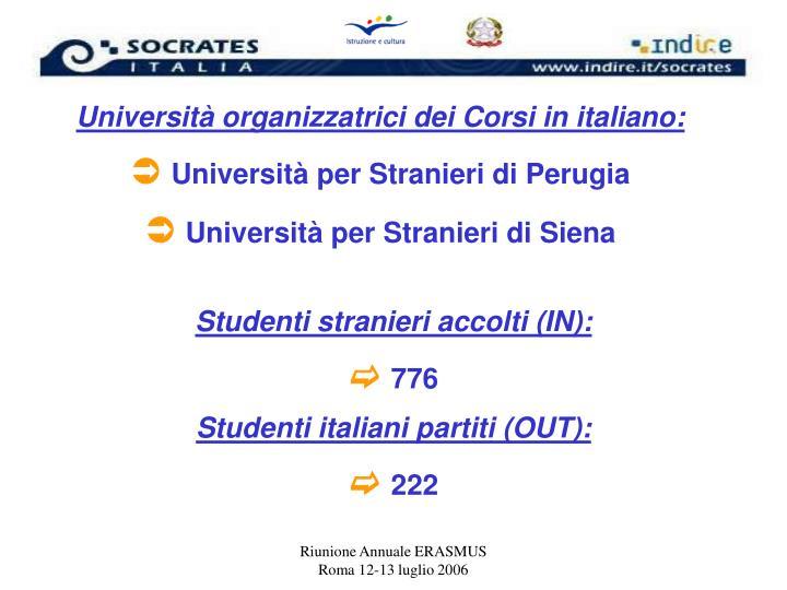 Università organizzatrici dei Corsi in italiano: