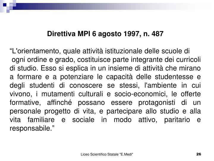 Direttiva MPI 6 agosto 1997, n. 487